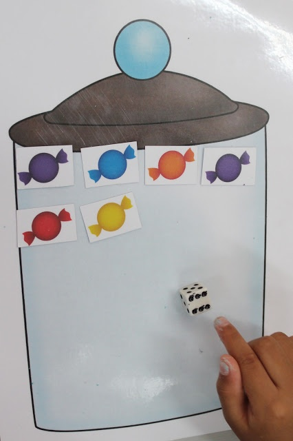 Lollies in a jar - dice game. Develops subitizing with a dice and one to one correspondence.