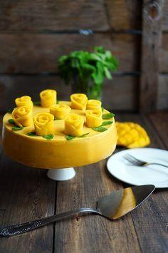 Муссовый торт с манго, огурцами и мятой, пошаговый фото рецепт, кулинарный блог…