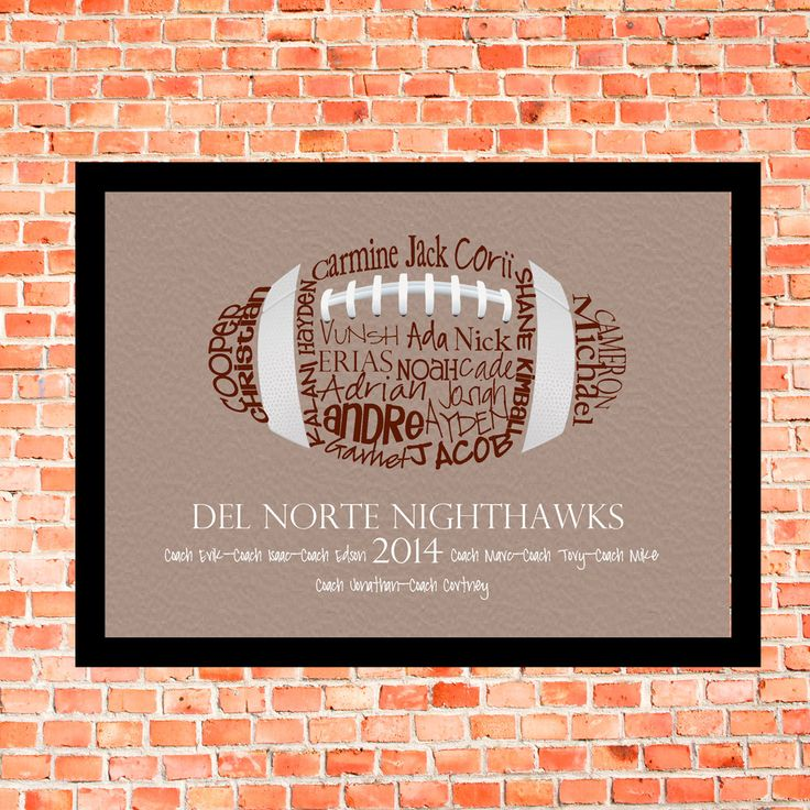 Football Coach Gift... Typography Art 5x7 by lesleygracedesigns
