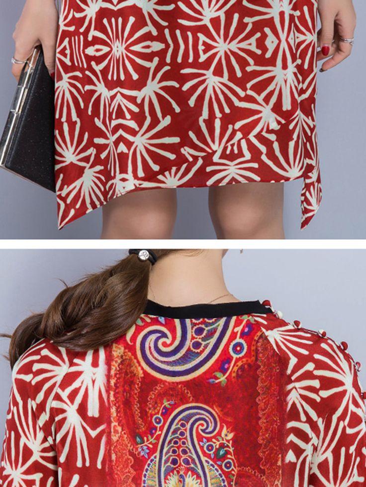 Loose Print Irregular Hem 3/4 Sleeve Women Dresses