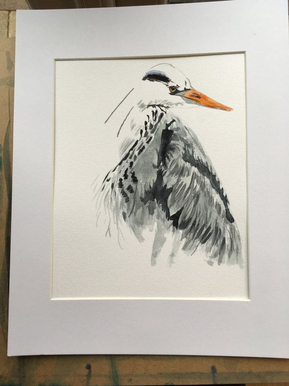 Harry Heron watercolour by KnottyThistle on Etsy