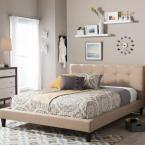 Quincy Beige Queen Upholstered Bed, Dark Beige