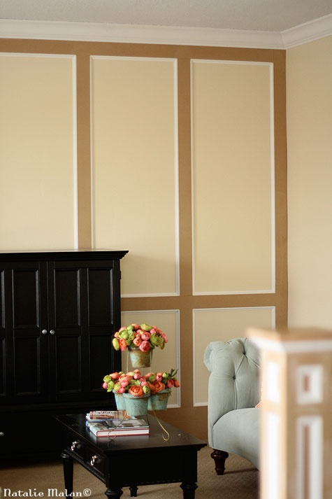 Wainscoting moulding before it 39 s painted living room for Living room wainscoting ideas