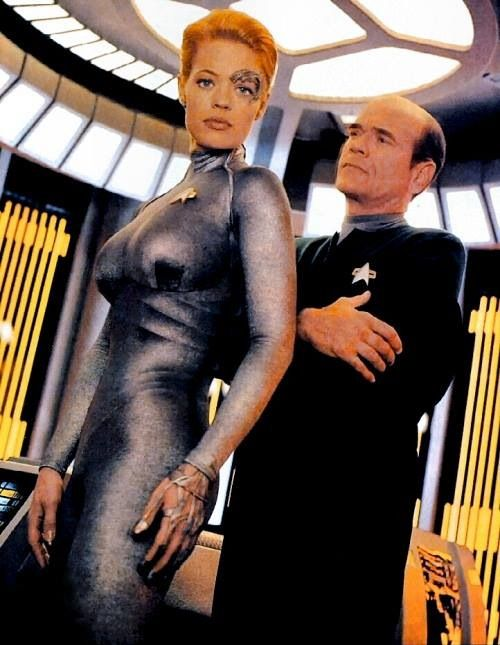 Star Trek Voyager - Seven of Nine (Jeri Ryan) and the Doctor (Robert Picardo).  The two best characters on the show, IMO