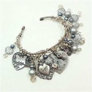 Hand Wired Bangle Bracelet On Silverware Skinny Just Loaded With Beady Charmies And Charms Wi Jewelry By B Sue Boutiques