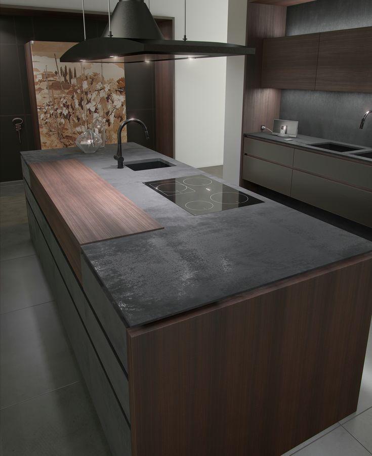 Cozinha com ilha com pegas integradas PROGETTO50 | Cozinha de nogueira - TONCELLI CUCINE