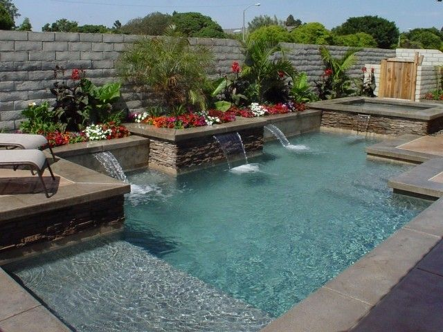small rectangular pools bing images - Rectangle Pool With Water Feature
