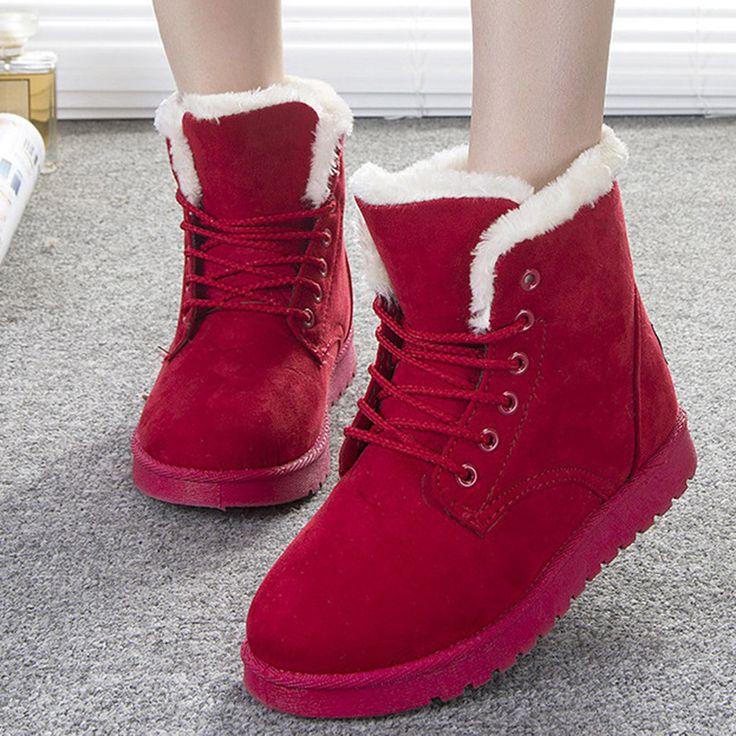 Женщины Сапоги Ботинки Женщин Зимние Ботинки Теплые Меховые Ботильоны Для Женщин Зимней Обуви Черный Красный