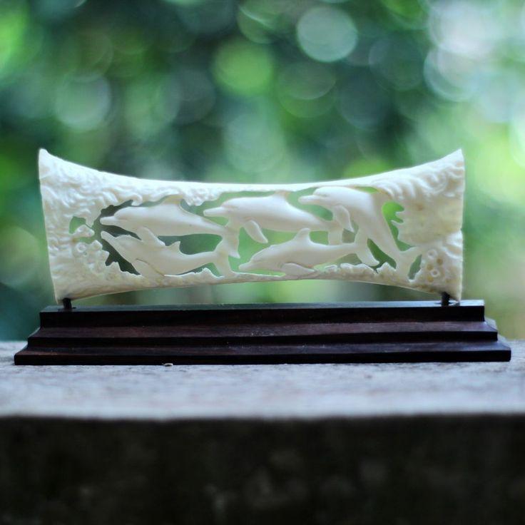Dolphin Buffalo Bone Carving Statue BCD 6