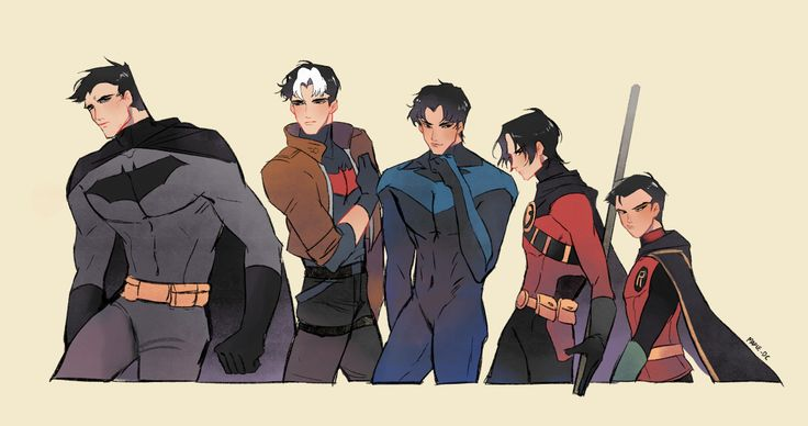 Batboys | Batman, Red Hood, Nightwing, Red Robin and Robin | Bruce, Jason, Dick, Tim and Damian | Bruce Wayne, Jason Todd, Dick Grayson, Tim Drake and Damian Wayne