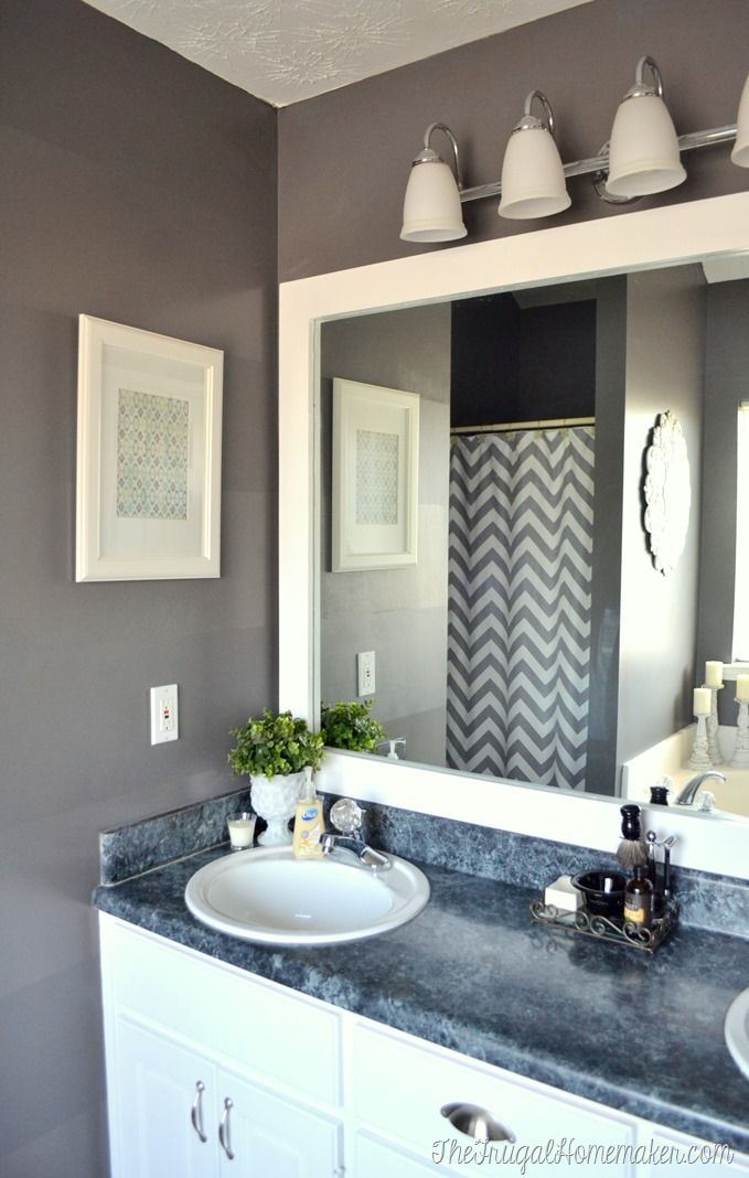 How To Frame Out That Builder Basic Bathroom Mirror For 20 Or Less My House Pinterest Mirrors Vintage Designs And
