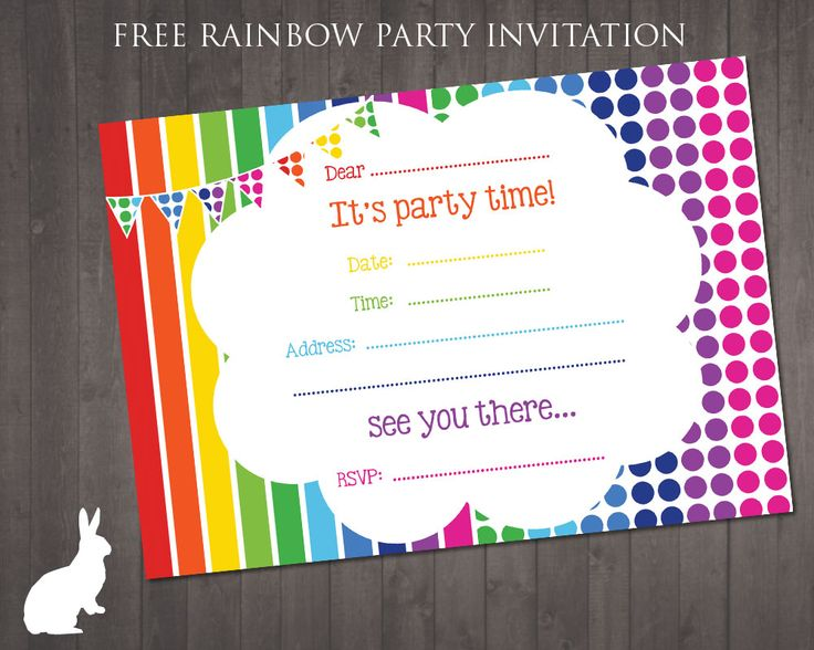 FREE Rainbow Party Invitation | Ruby and the Rabbit