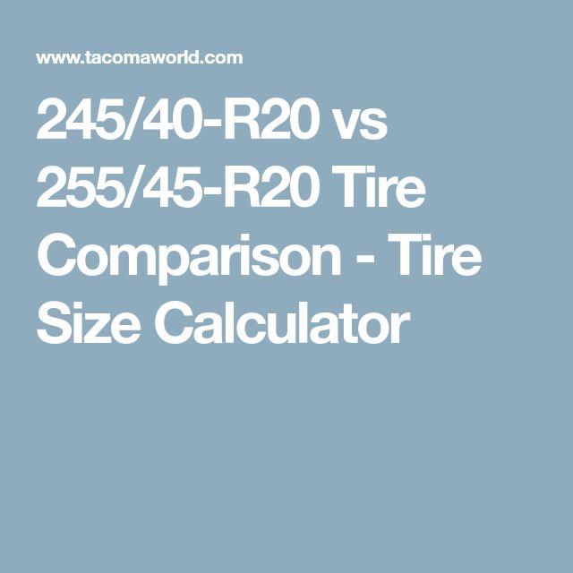 245/40-R20 vs 255/45-R20 Tire Comparison - Tire Size Calculator