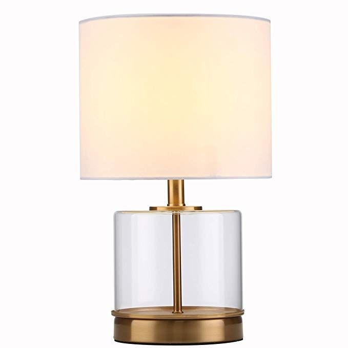 Tayanuc Modern Glass Gold Table Lamps White Fabric Shade Small Table Desk Lamp Clear Glass And Brass Base Review Glass Gold Table Table Lamp Gold Table Lamp