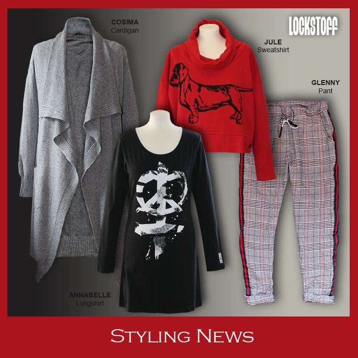Styling News from LOCKSTOFF... COSIMA Cardigan, JULE Sweatsirt, ANNABELLE longsleeve, GLENNY pant #mode #fashion #casual #dackel #styling #outfit #checks #peace #red #black #greymelange
