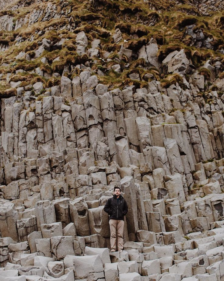 Basalt at the Black Sand Beach in Vik, Iceland