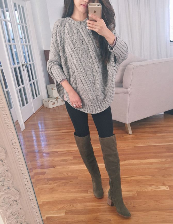 Stitch Fix Stylist: Love the casual OTK boots and the poncho sweater. The poncho isn't too big/full , which is key for my petite frame!