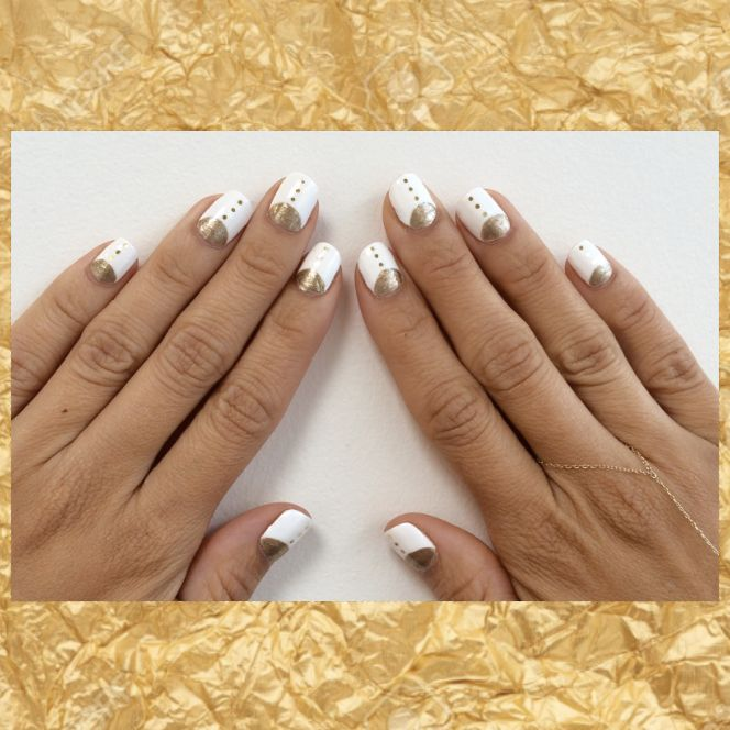 who says we can't wear white after #LaborDay? September's #MOTM is a gilded dream. Book now for $55 and let your nails shine.