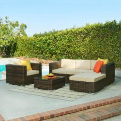 The-Hom BAS-161C Caribe 4-Piece All Weather Wicker Patio Seating Set with Beige Cushions