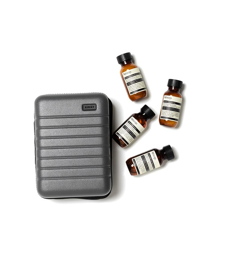 Purchase a gift card for one of our suitcases, and it'll come packed inside a miniature case along with a pair of cushy socks and travel-size Aesop shampoo, conditioner, body cleanser, and body balm. They're thoughtful gifts for any traveler, all together in the easiest suitcase you'll ever wrap.
