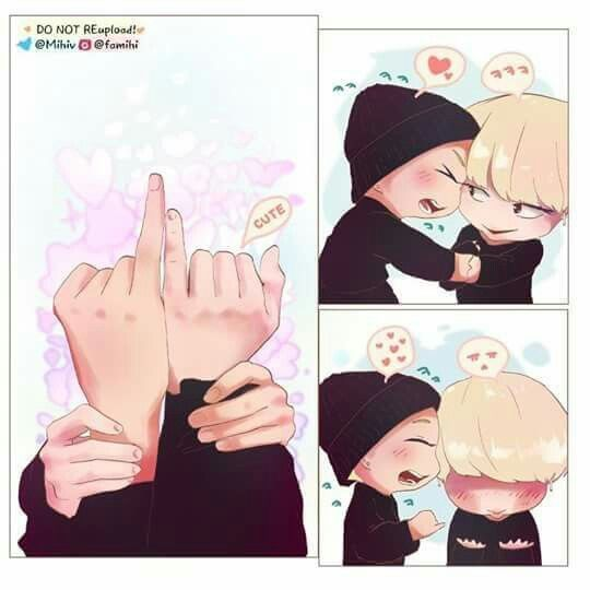 Aww... this is so cute Jimin's  hands are like mine but our age difference has quiet a gap.