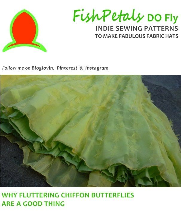 Blog post from fishPetals Do fly hat sewing patterns - sewing with chiffon fabric from Spotlight fabric store
