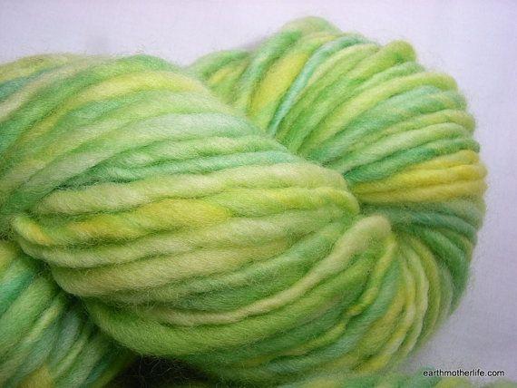 Spring Bud - soft and smooshy Merino bulky weight handspun singles yarn by EarthMother Designs.