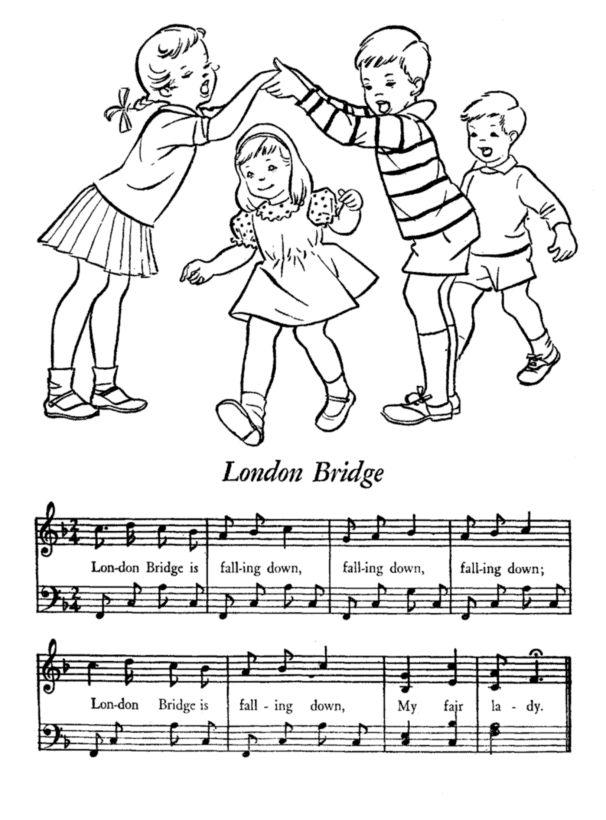 London Bridge Falling Down - Kids Songs Lyrics and Coloring Page