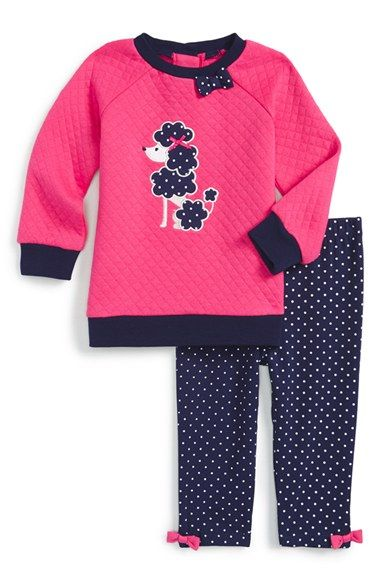Little Me 'Poodle' Quilted Top & Leggings (Baby Girls) available at #Nordstrom