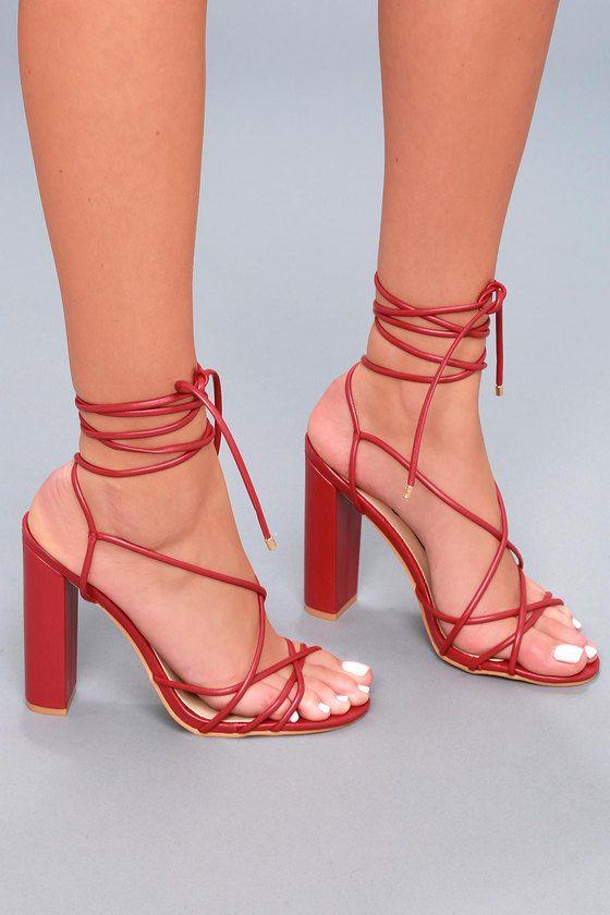 fc586e3ea5b NeNe Red Lace-Up Heels in 2019