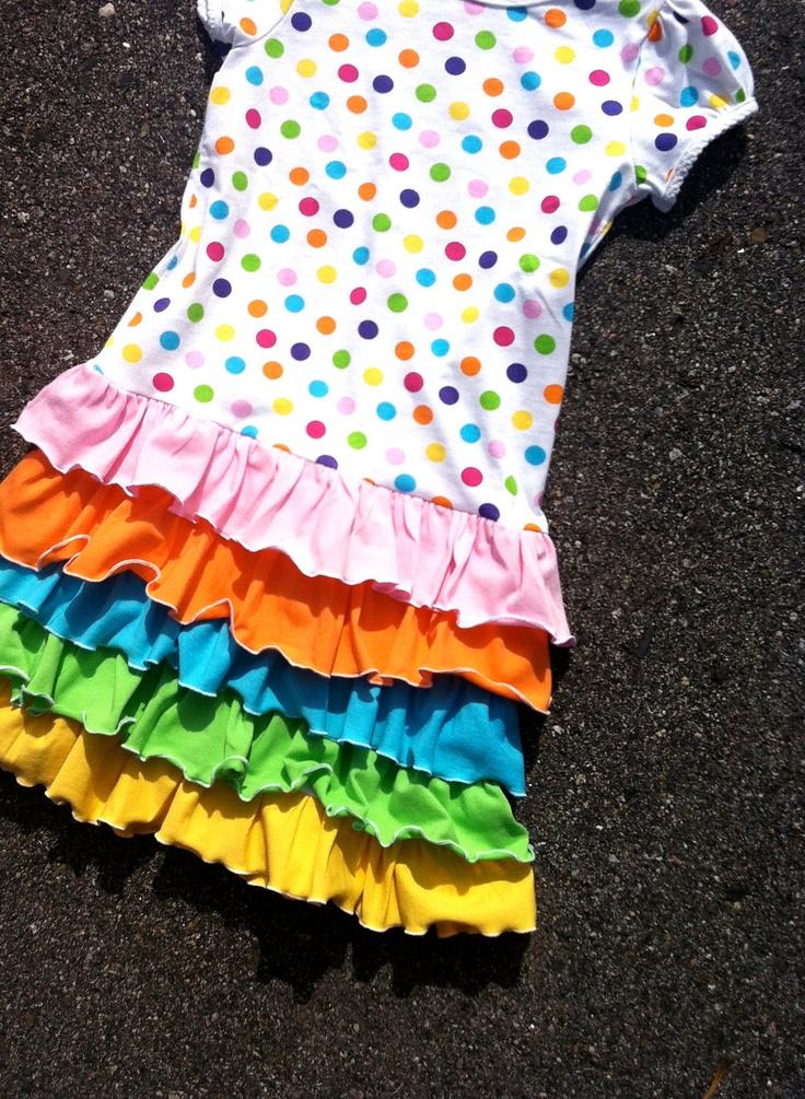 rainbow dots ruffled girls dress. $48.00, via Etsy.