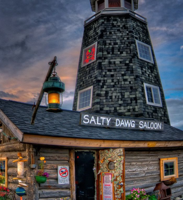Homer, Alaska.  Homer is truly one of a kind. A major fishing town filled with cute little souvenir shops and quite possibly the coolest saloon in Alaska, the Salty Dawg!