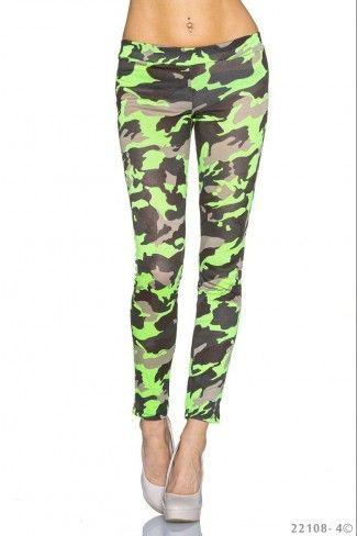 Εφαρμοστό στρατιωτικό leggings - Νέον Πράσινο Καμουφλάζ