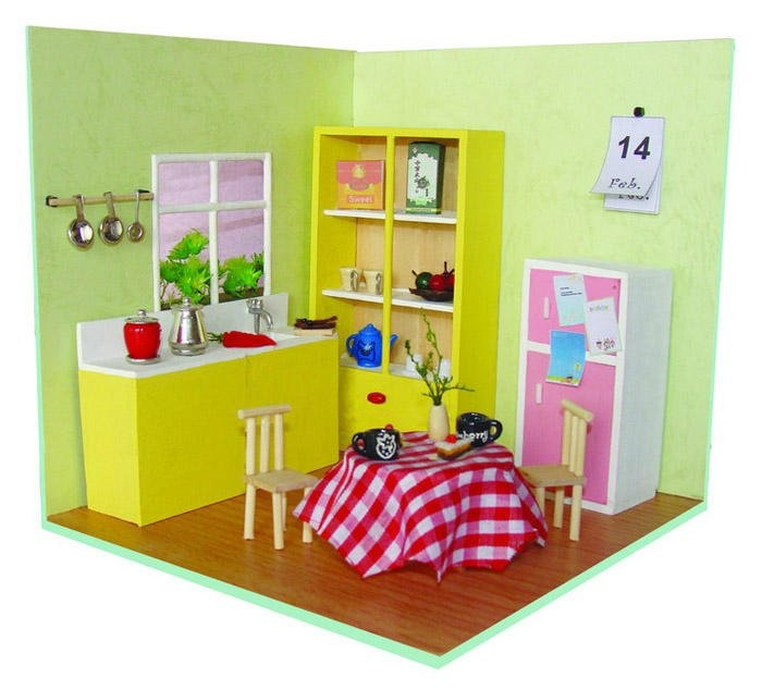 Gastos de envío gratis 3D Puzzle DIY Wood, Family Scene, Mini Puzzle DIY Toy House, Cocina