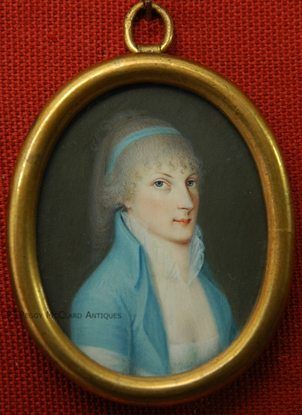 Circa 1790 portrait miniature in vellum.  Continental.  From my website.