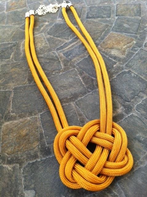 Yellow Nylon Kernmantle Rope - Celtic Heart Knot Necklace! www.baitbykiya.com