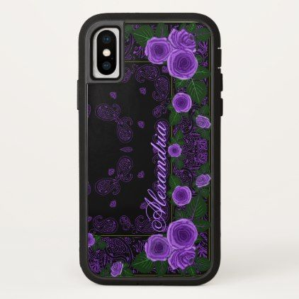 Raspberry Roses & Paisley Bandana Name Template iPhone X Case - pink gifts style ideas cyo unique