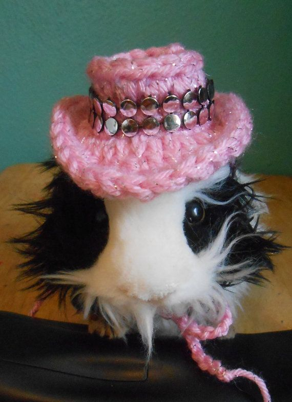 Crocheted Guinea Pig Cowboy Hat Guinea Pig Clothes by Fancihorse