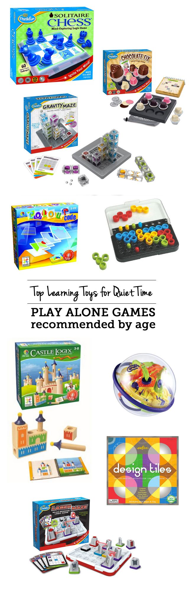 Top learning toys for quiet time: play alone games - love that my kids are building brainpower with these while I get stuff done or have one-on-one time with their sibling.