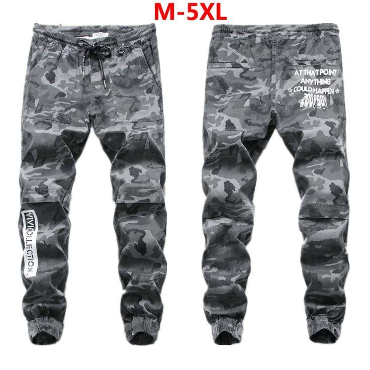 B2007 Grey Army Jeans Trousers Ankle Length Drawstring Stretch Pants 100% Cotton Men`s Jogger Jeans Masculino M-XXXL 4XL 5XL