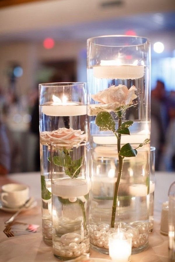 centres de table roses et bougies flottantes bricolage #wedding #weddings #w …   – Wedding