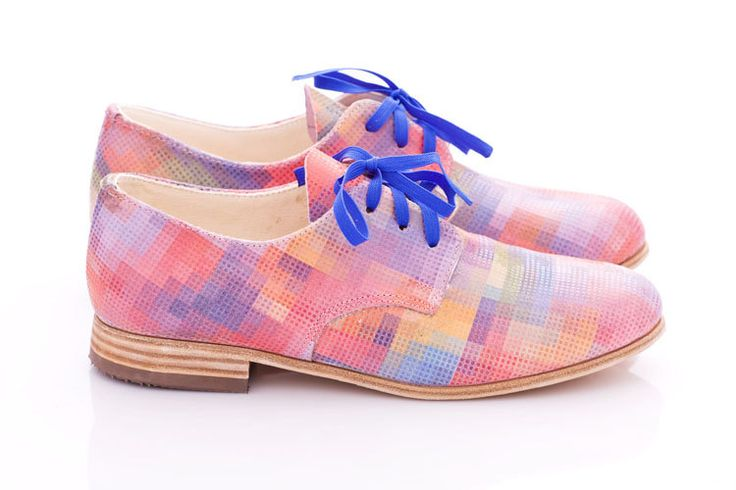 Pastel pixels - Leather oxford shoes for woman. €119.00, via Etsy.
