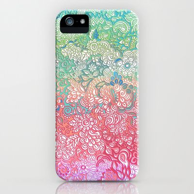 """""""Soft Pastel Rainbow Doodle"""" Phone Case by Micklyn on Society6."""