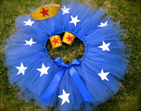For Kelly @ Halloween....Wonder Woman Inspired Adult Tutu. Super Hero Tutu Costume. ADULT Costume. TEEN costume. $44.99, via Etsy.
