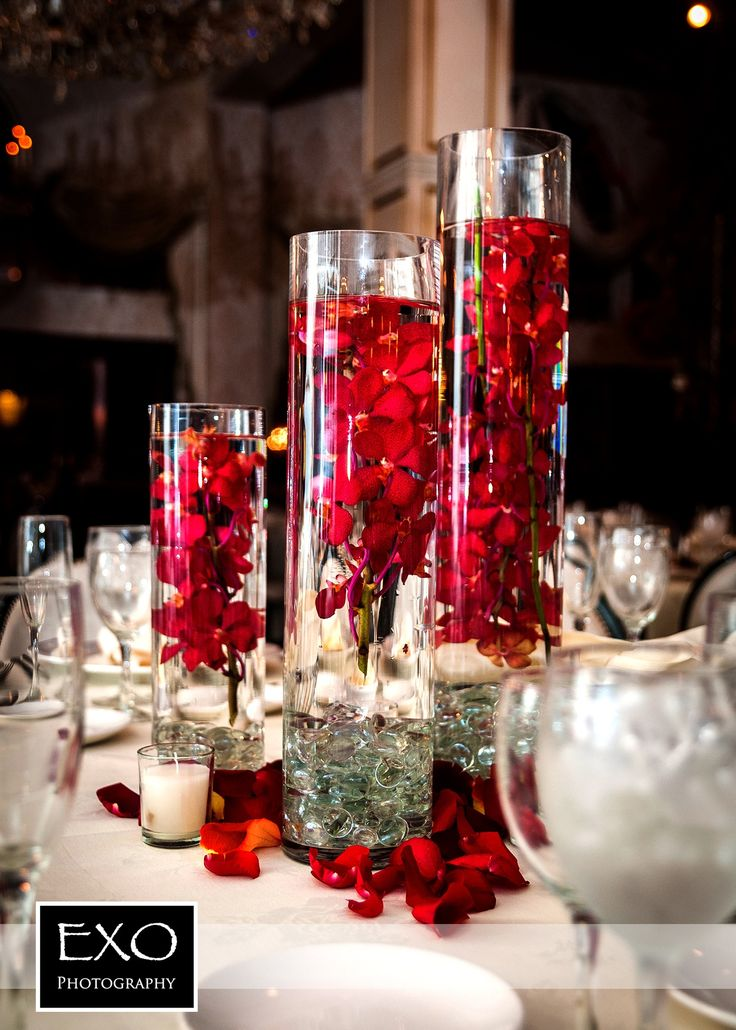 Centerpieces red wedding rose