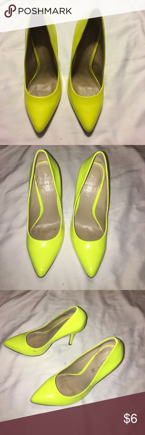 Aldo neon yellow heels Size 39. Only worn a handful of times. Beautiful shape. Few scuffs. Patent leather. Aldo Shoes Heels