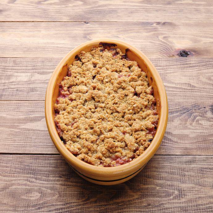 Receita de Crumble de aveia e baunilha com maçã e ruibarbo | :: as melhores receitas de sobremesas de leonor de sousa bastos | flagrante delícia ::