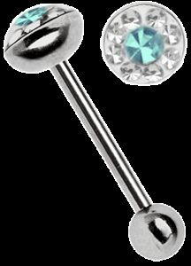 Ohr Piercing Stab Stahl Zungenpiercing, Platte 7 mm x 4 mm 2 farbig türkis
