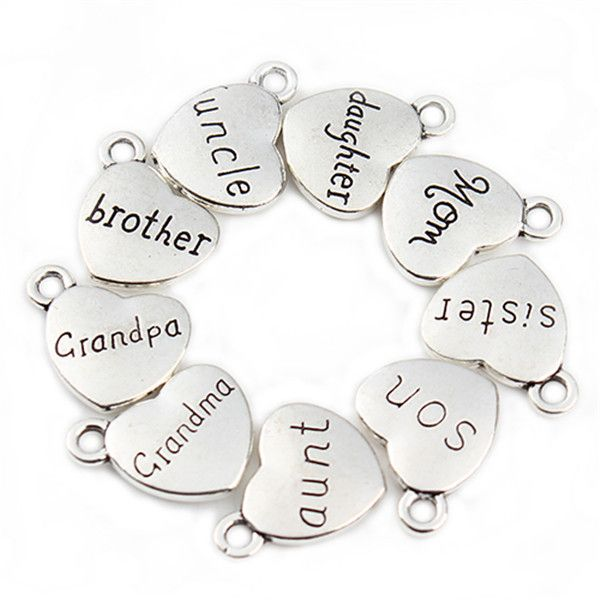20 pcs/lot Mixed Antique Silver Plated Love Heart Beads Metal Charms Words Handmade Floating Charm Pendant Jewelry Making  F2038
