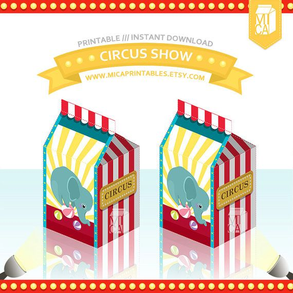 Elephant Circus Printable Party Favor Treat by MicaPrintables